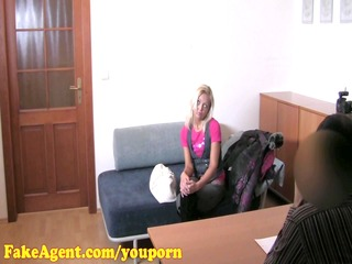 fakeagent hd aged blond does anal in casting