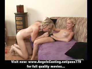 two hot lesbo sweethearts toying pussy and