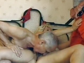 aged german golden-haired gets double drilled