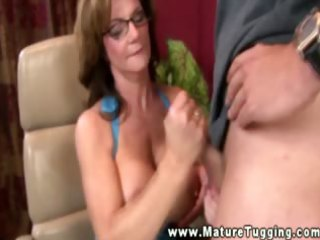 nasty milf with glasses jerking shlong