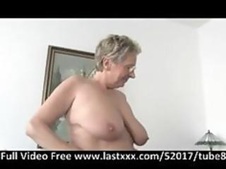 german granny receives a pound on the ottoman