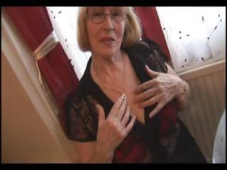 unshaved granny in hose striptease