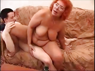 old redhead granny like fck with youthful guy.by