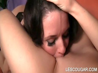 lesbo cougar loves to take up with the tongue