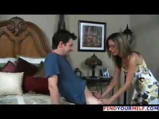brunette hair mother i meets with youthful boy