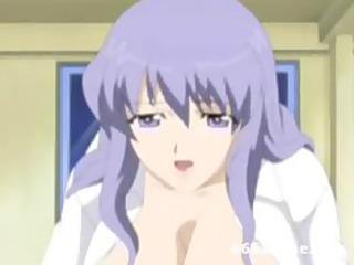 breasty anime woman clothed like nurse seduces