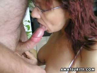 hawt amateur aged wench sucks and bonks with