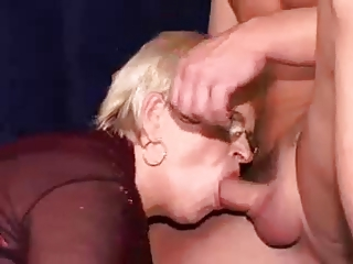 granny receives double penetrated with facial
