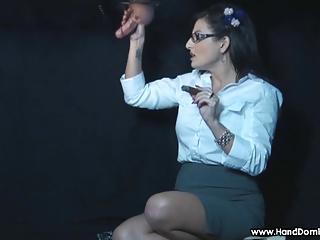 smoking femdom glory hole handjob by dominant MILF