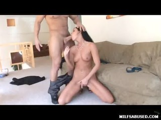 darksome haired milf chick with tiny tits sucks