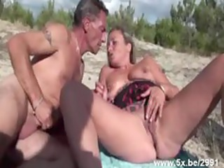 french mature group-fucked on the beach