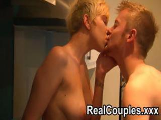 horny blond wife swallows his meat and receives