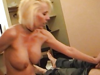 nasty blond momma in strap and stockings rides