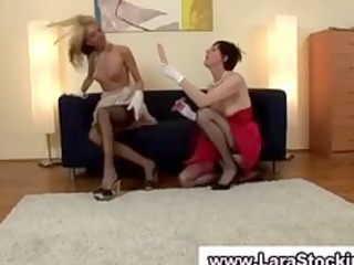 lesbo redhead and golden-haired used dildos to