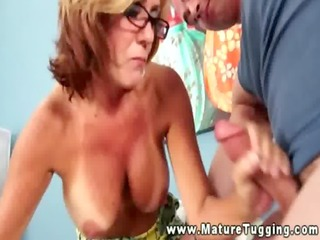 older floozy acquires her hands on his hard dick