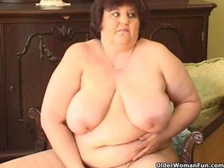 fat granny with big billibongs copulates a