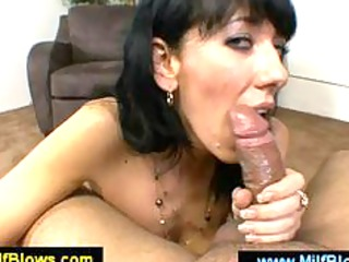 hot mom caressing a wang with her milk cans
