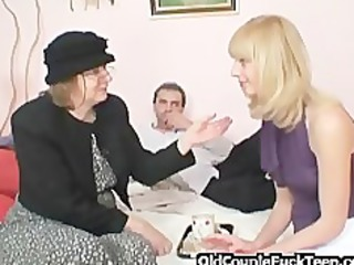 golden-haired shares knob with old bag