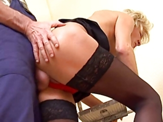 slender golden-haired older in nylons copulates