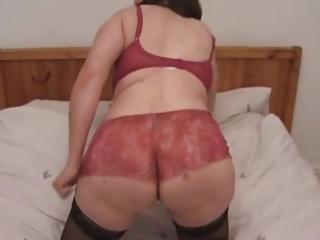 Milf in stockings plays