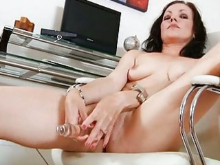 dark haired d like to fuck fucks her glass sex toy