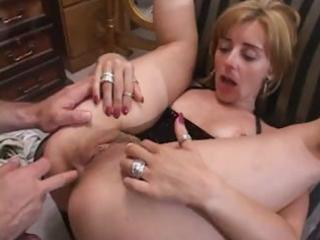wicked aged golden-haired receives fingered and