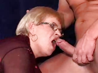 granny in a double penetration and facial on her