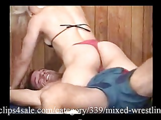 great mixed wrestling action at clips6sale.com