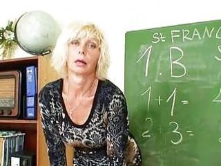 Horny matured blonde teacher in stockings fingers