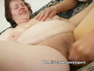 younger boy dildos old womans ass and fucks her