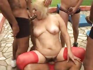 older granny blond victoria group-sex outdoor sex