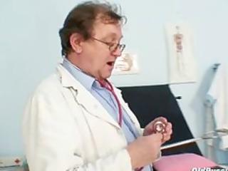 elder dilettante woman weird gyno clinic exam