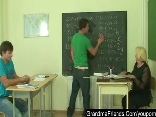 naughty old teacher is nailed by juvenile students
