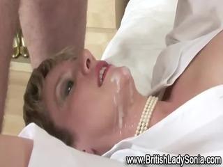 horny mature brit slut acquires a cumshot