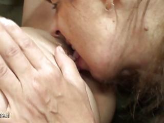 hot babe copulates nasty older lesbo mother