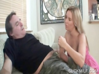 cougar engulfing horny rod on knees