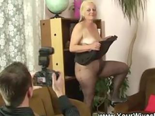 granny cuts a gap in her hose
