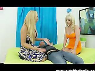 blonde british milf teaches daughter to engulf