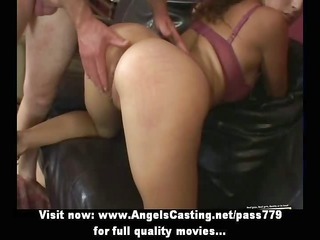 cute brunette hair drilled hard from behind and