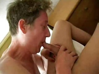 Horny old granny fucks young cock and gets well