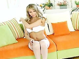 blonde teases in nylons pants and heels