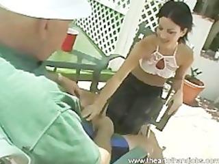 schoolgirl outdoor cook jerking