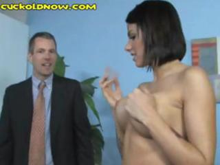 cheating spouse licks the darksome guys cum off