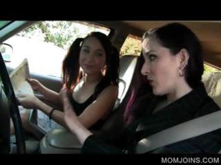 hawt mama and daughter talked into fucking