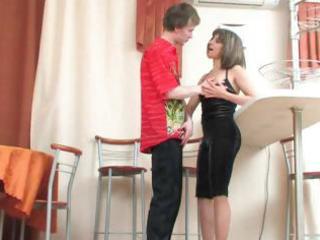 lewd brunette hair mama surprises a juvenile guy