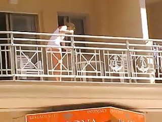 hotties cleaning balcony no pants upskirt 9