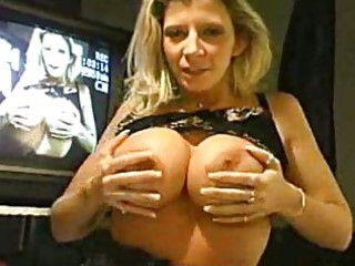 breasty milf squeezes boobs and sucks and licks