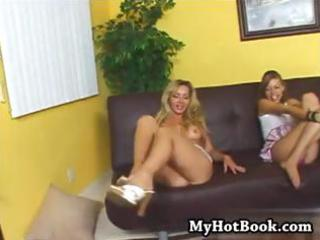 busty golden-haired mom and daughter take turns