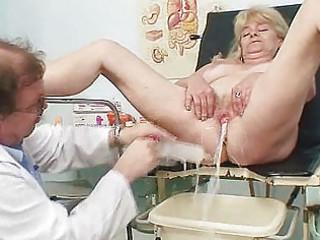 blonde grandma perverted snatch exam with enema
