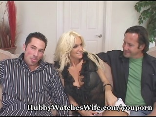 cougar wife fucks young fellow as hubby watches